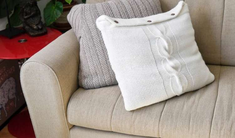 sweater pillows made from recycled old sweaters