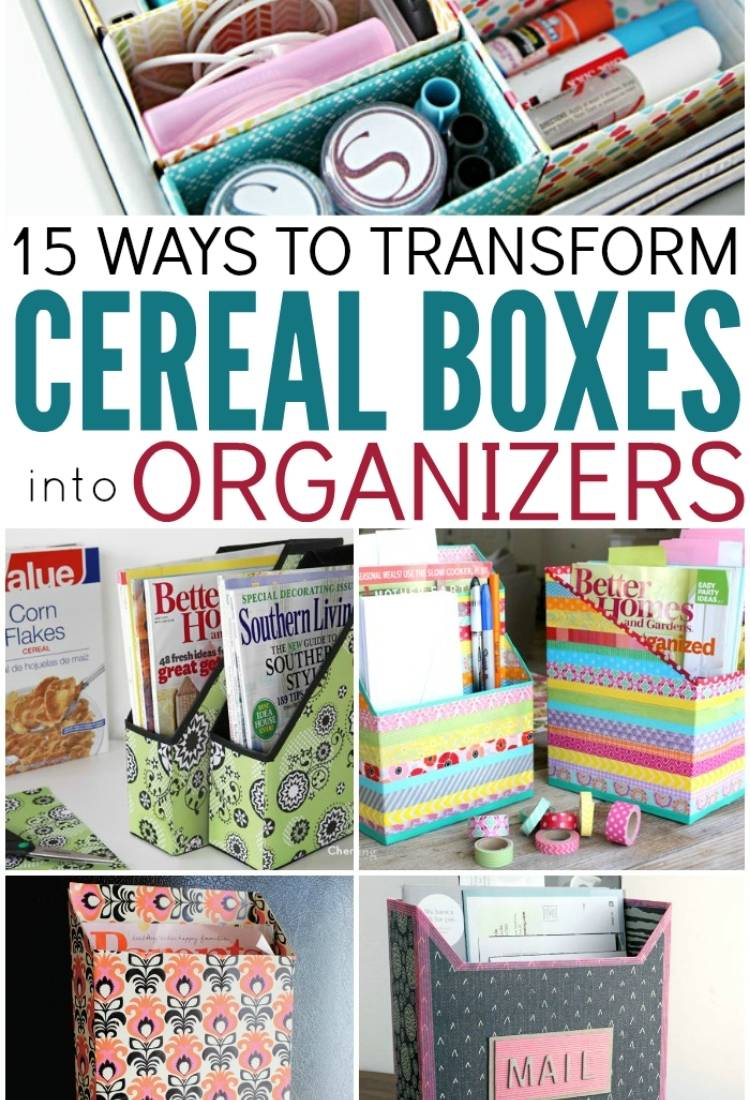 Drawer organizer made from cereal boxes, mail box and file organizers made from cereal boxes, magnetic paper holder