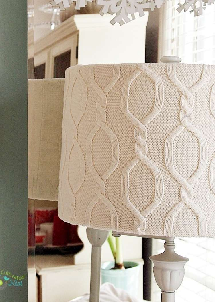 an old sweater repurposed into a lampshade cover