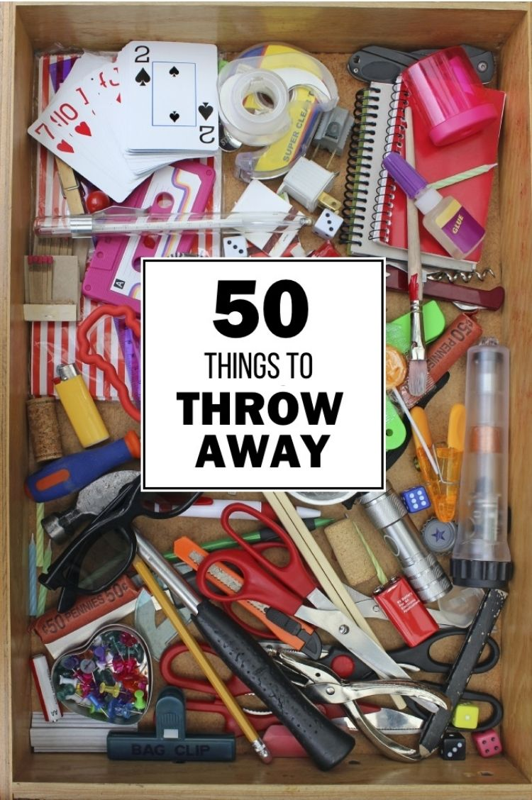 things to throw away - image of a junk drawer full of odds and ends from around the house