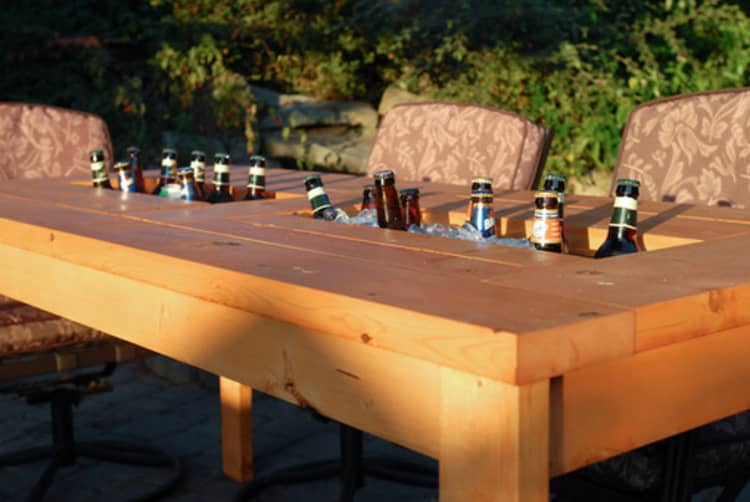Backyard DIY Ideas - patio table with built in cooler