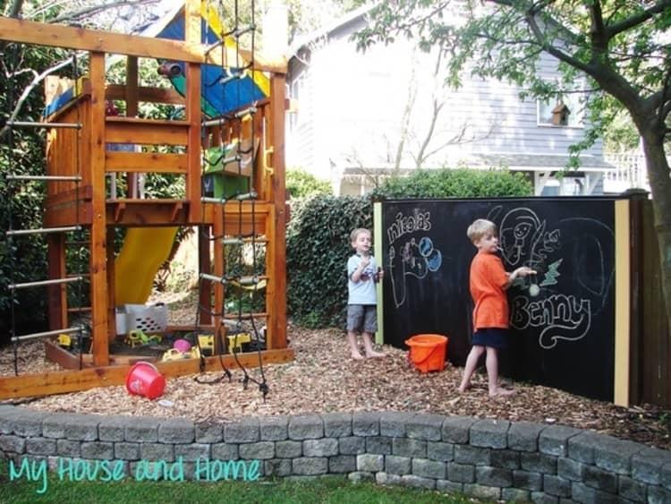 Backyard DIY Ideas - outdoor chalkboard