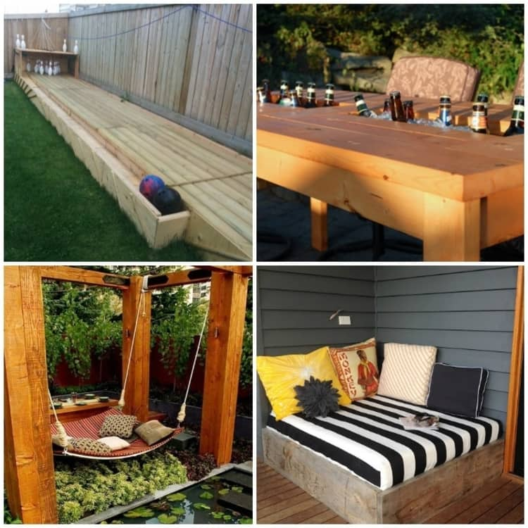 Backyard DIY Ideas - collage of backyard bowling alley, patio table with built in cooler, peaceful swing, and patio daybed