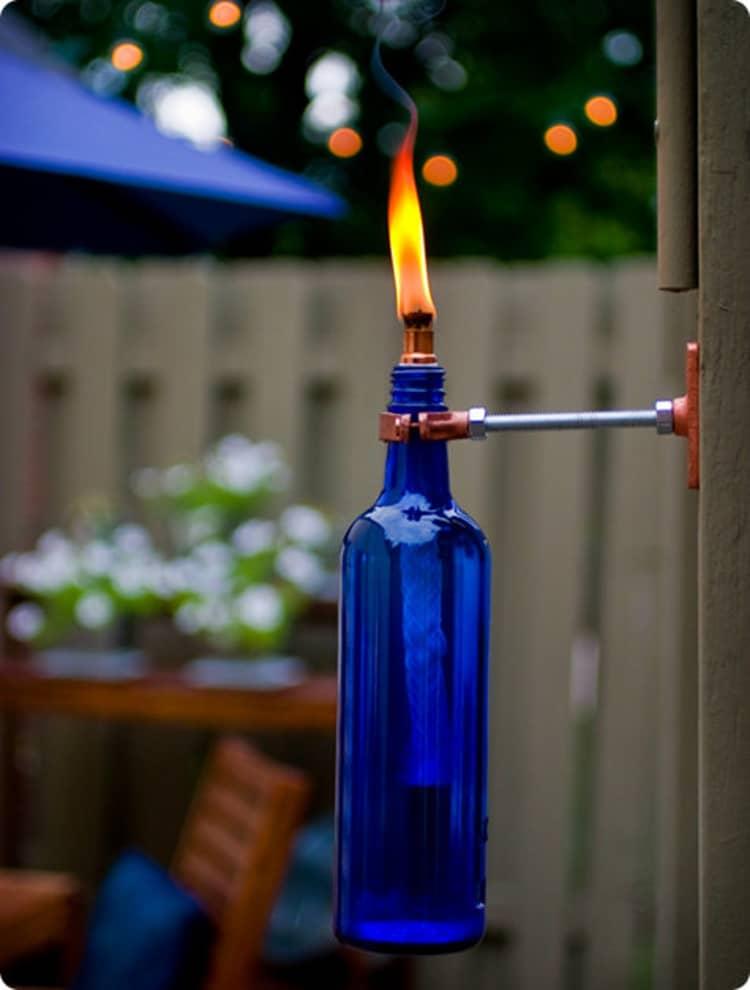 Backyard DIY Ideas - wine bottle torches
