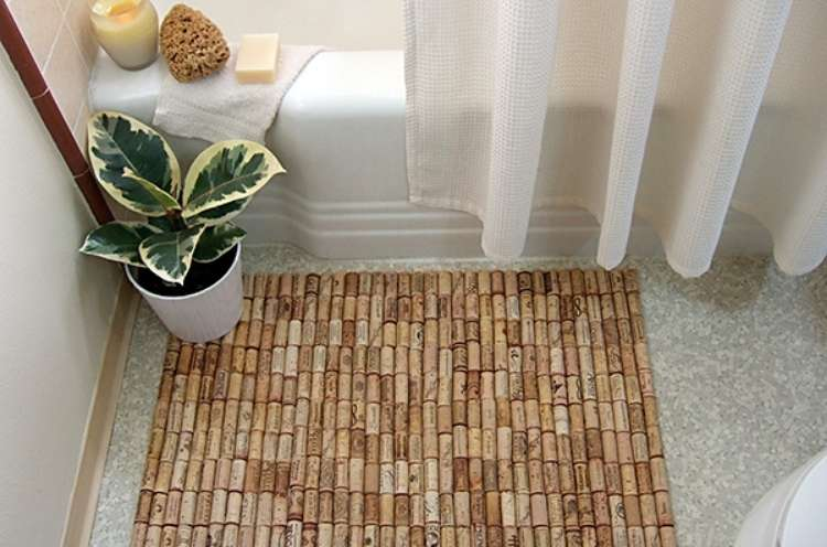 Wine Cork Crafts DIY Bath Mat