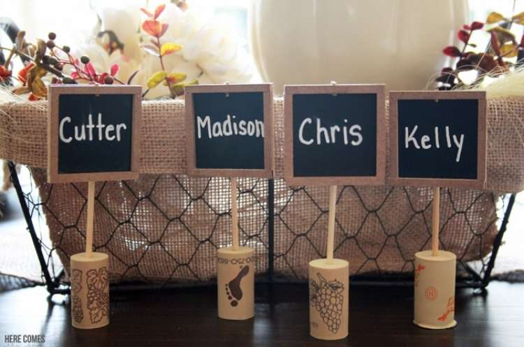 Wine Cork Crafts DIY Chalkboard Cork Place cards