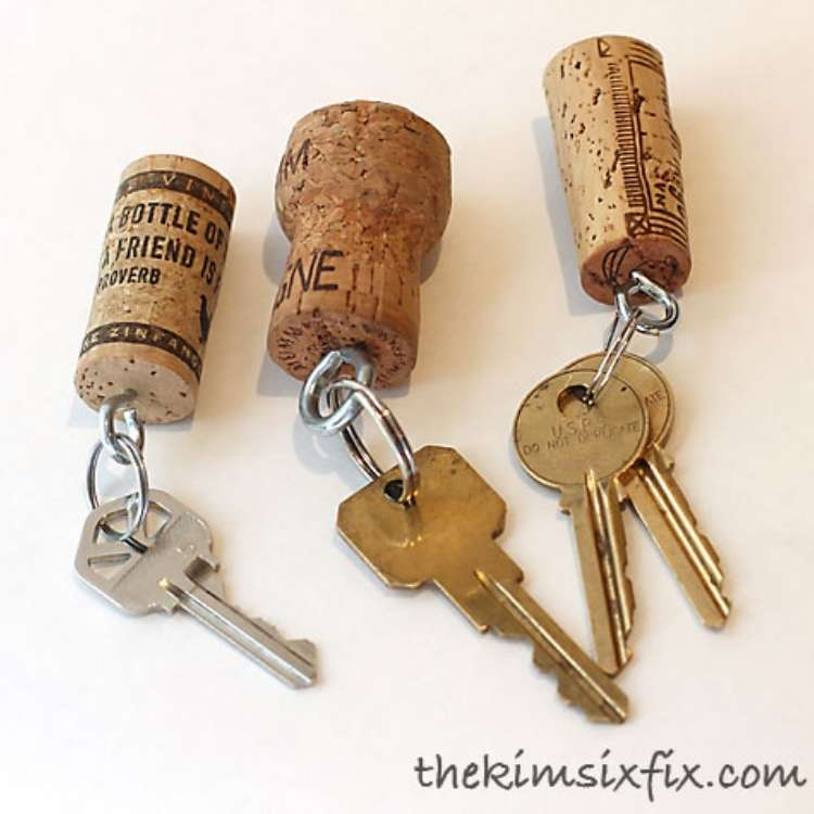 Wine Cork Crafts DIY Key Chains