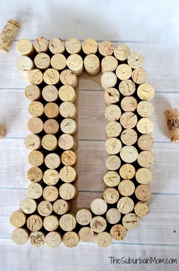 Wine Cork Crafts DIY Monogram Gift