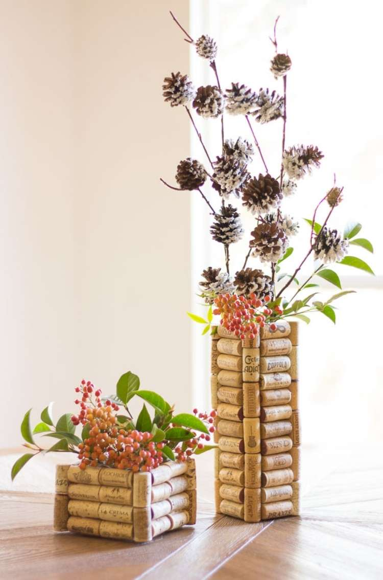 Wine Cork Crafts DIY Vase for Flowers