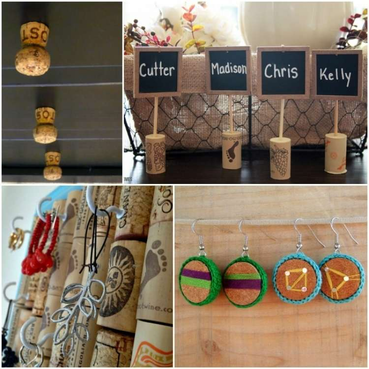 Wine Cork Crafts, Cork Drawer Knobs, Chalkboard Place cards, Cork Earrings, Cork Jewelry Organizer