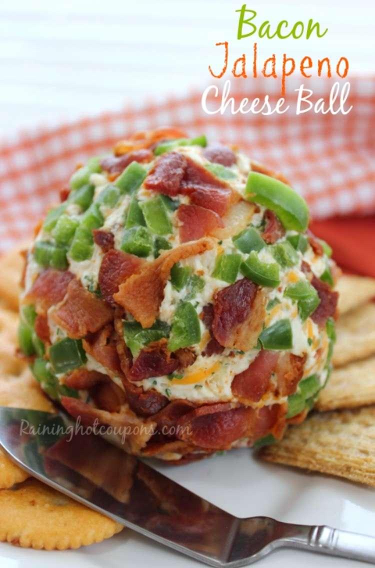 Bacon. jalapeno, cheeseball on a plate