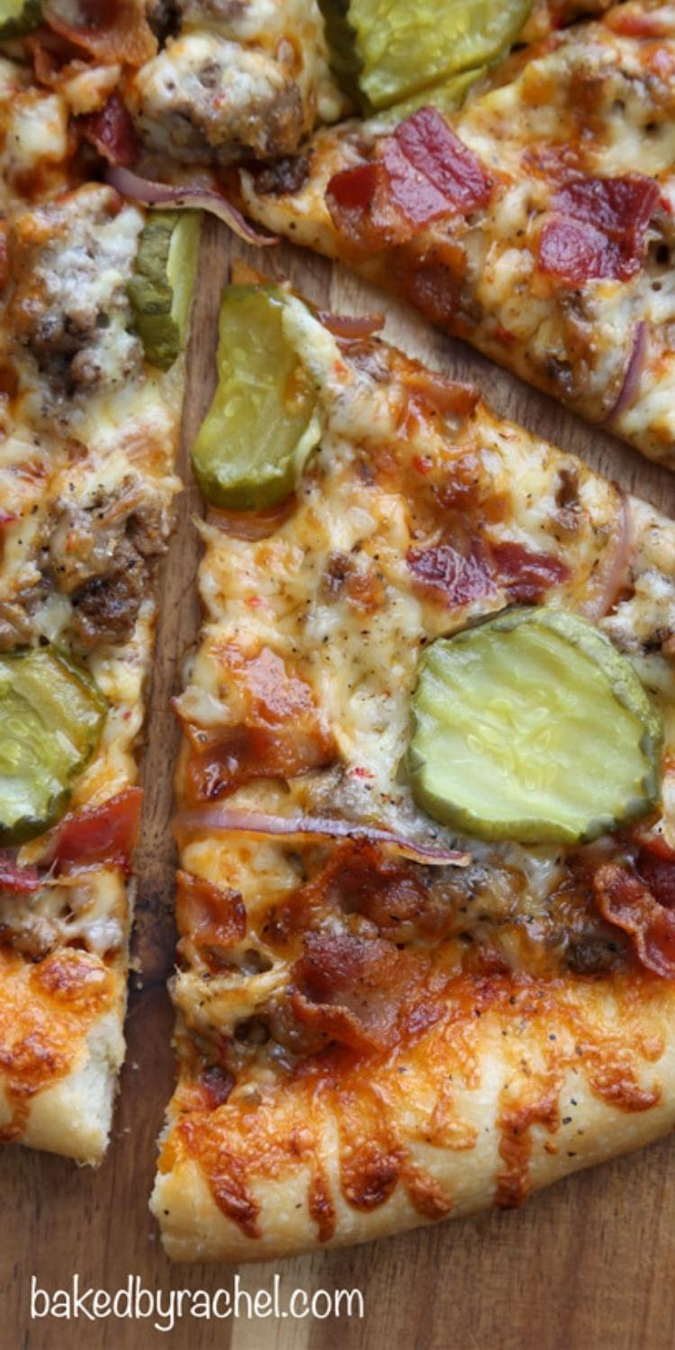 Bacon Cheeseburger Pizza Crazy pizza topping idea with ground beef, bacon, and juicy pickle slices.