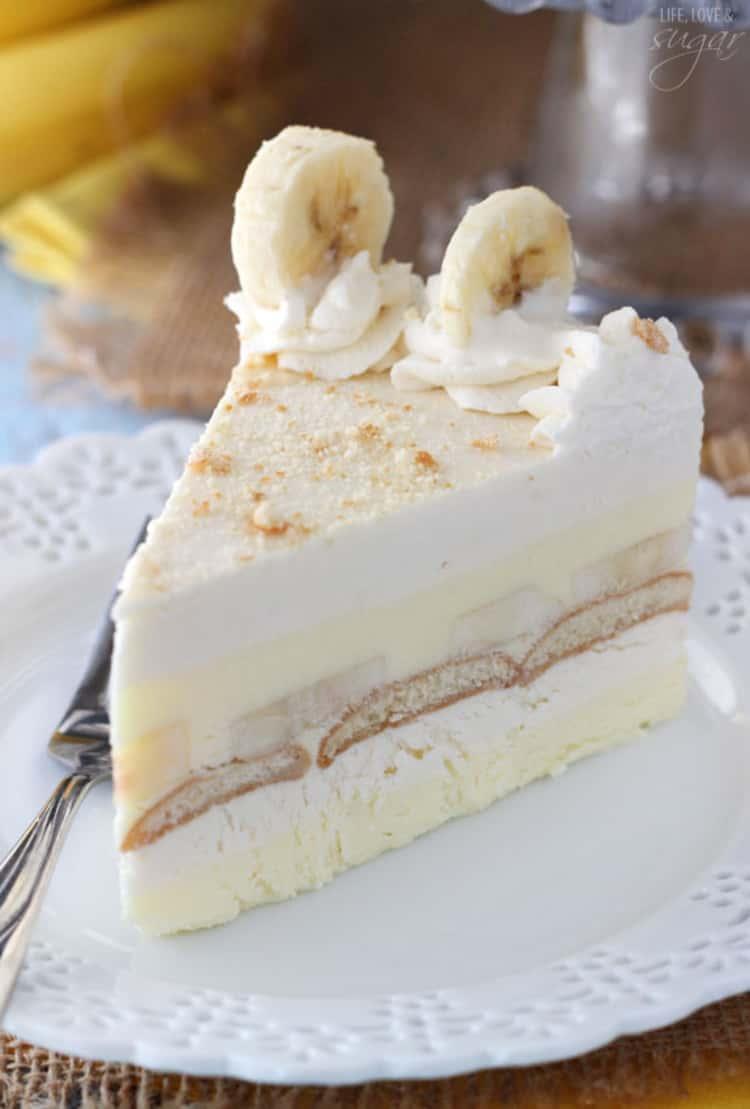 A slice of banana pudding icebox cake with banana slices on top