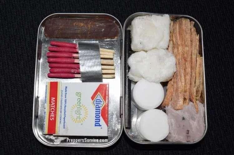 campfire starter kit in a tin