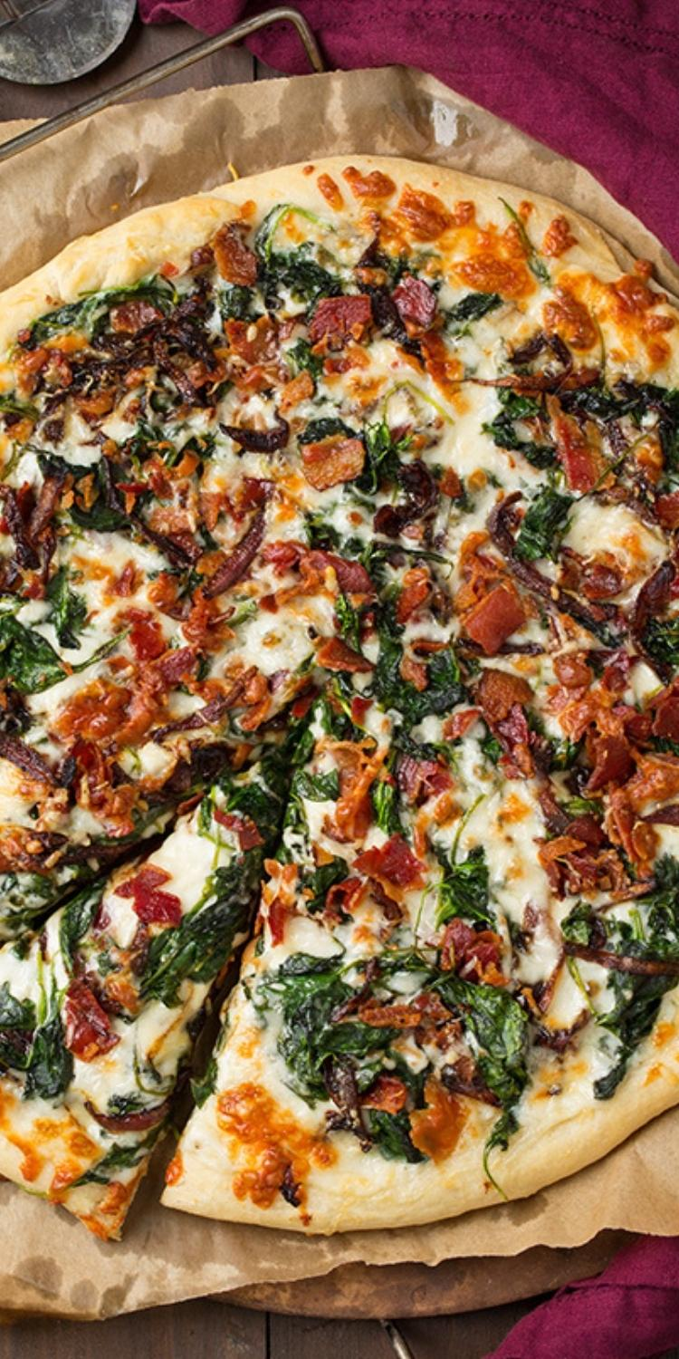 Caramelized Onions, bacon, and spinach pizza topping ideas. Gourmet flatbread pizza recipes.