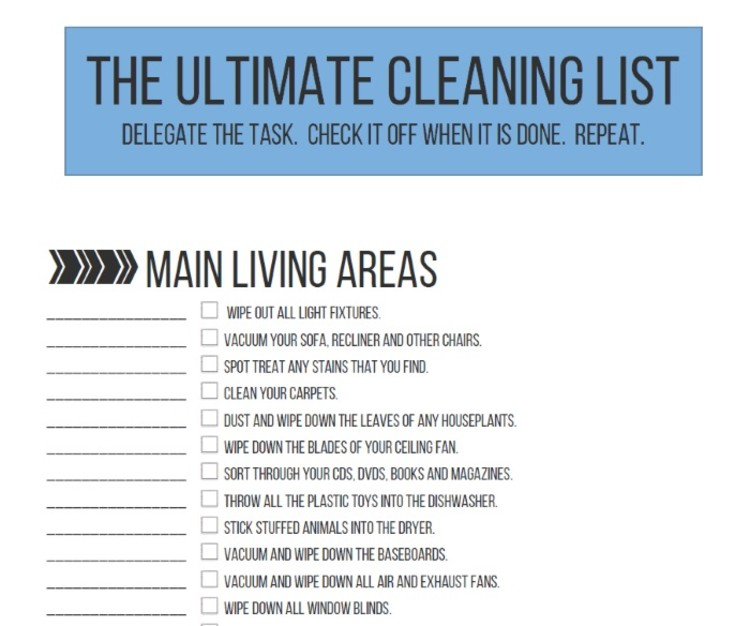 50 Things You Need to Throw Away - Ultimate Cleaning List Image - check off list for things to clean around the house