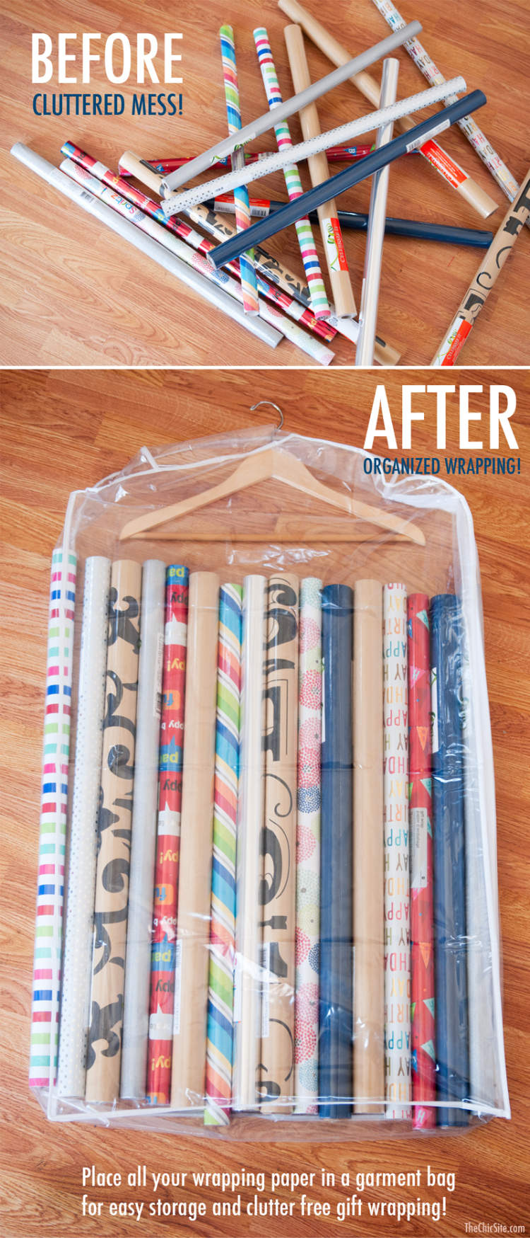 Storage idea - wrapping paper stored neatly in a garment bag to keep it organized and hung in a closet.