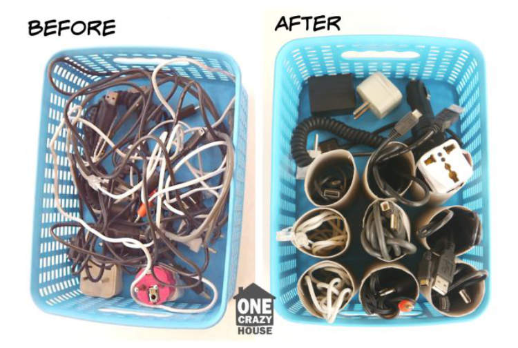 Clever ways to hide clutter - charger cables organized in baskets using toilet paper tubes