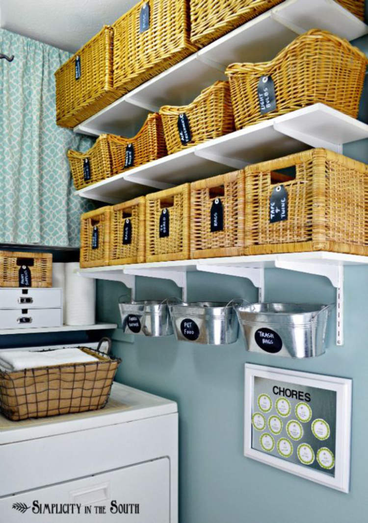 Rows of baskets on shelves being used to increase storage and hide away mess in a laundry room.