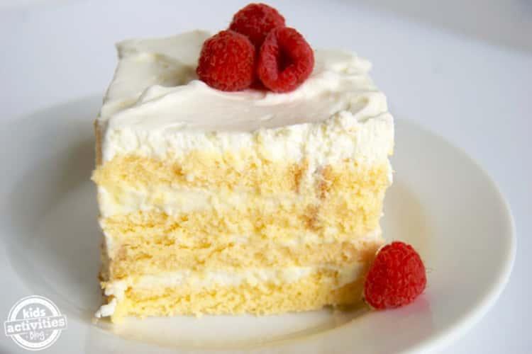 Easy Vanilla Icebox Cake with raspberries on top