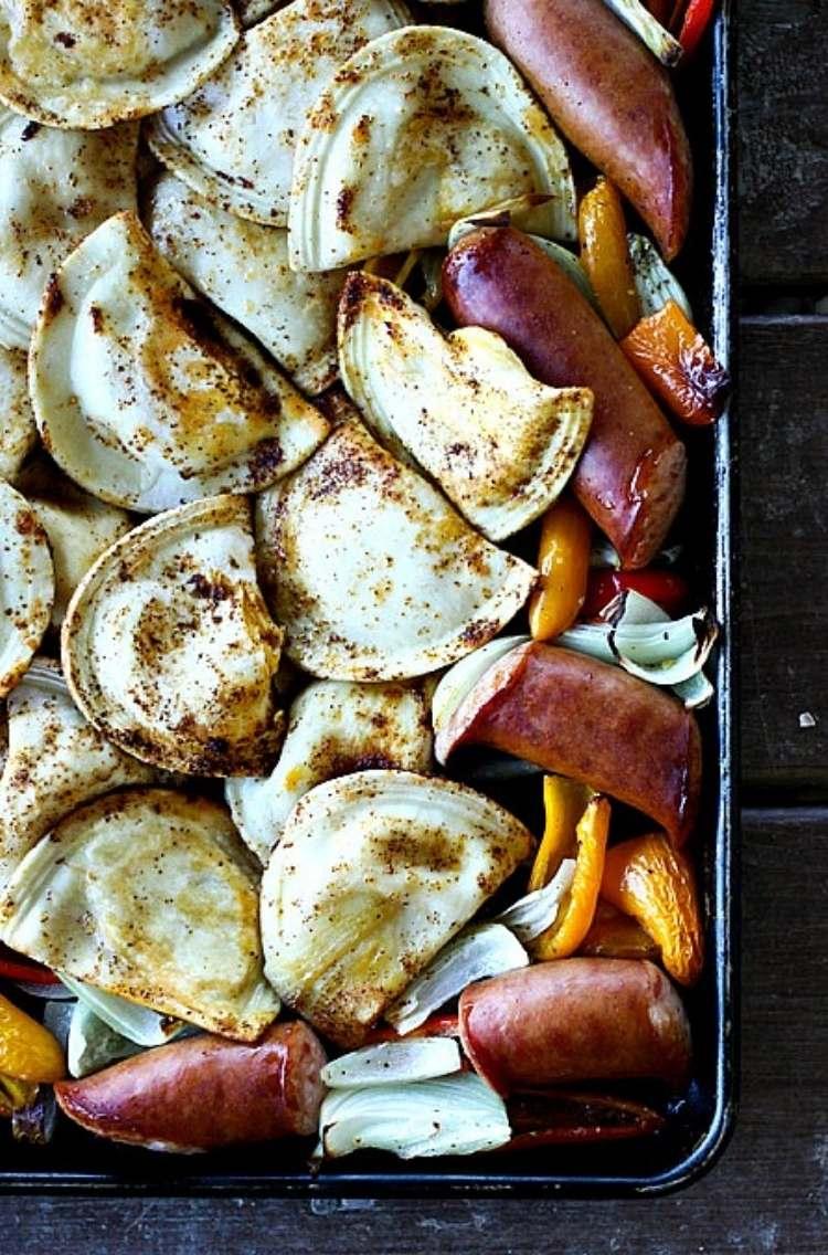 Sheet pan dinner: Kielbasa, and perogies
