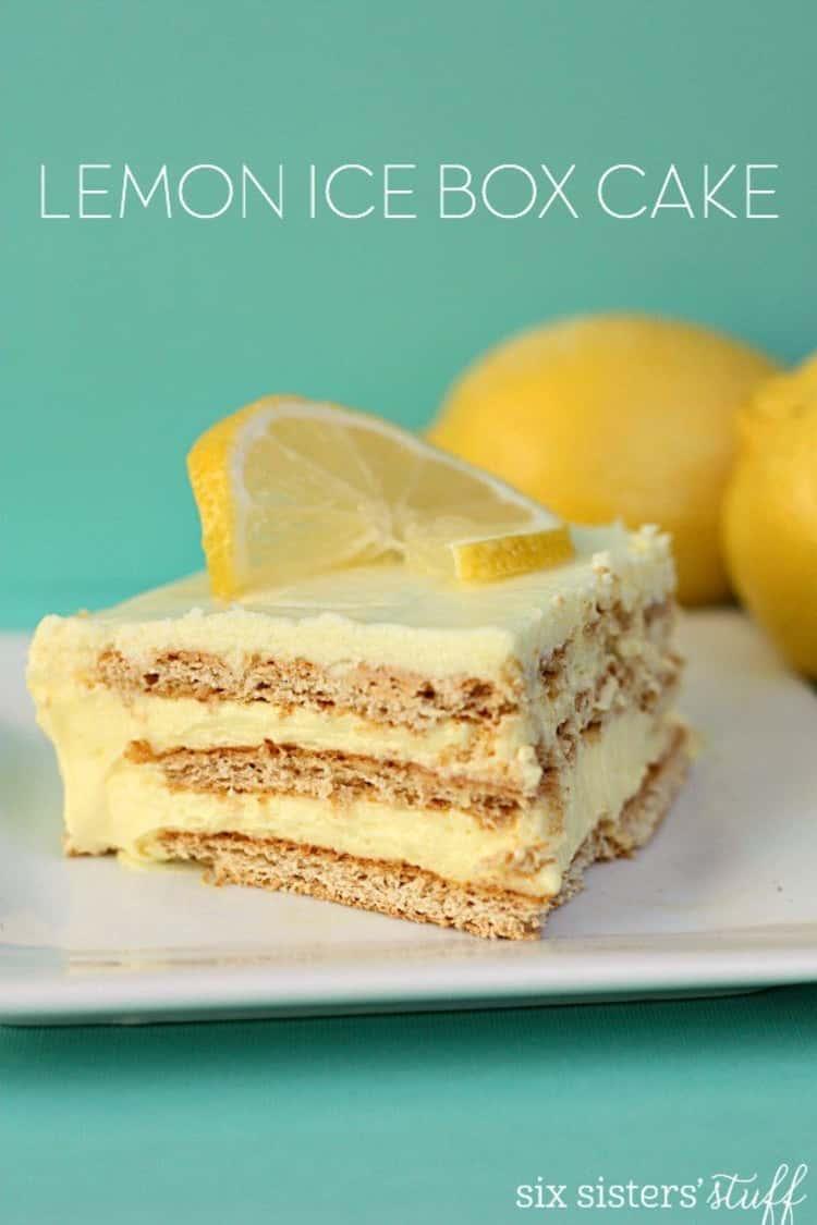Lemon Icebox Cake topped off with a lemon slice