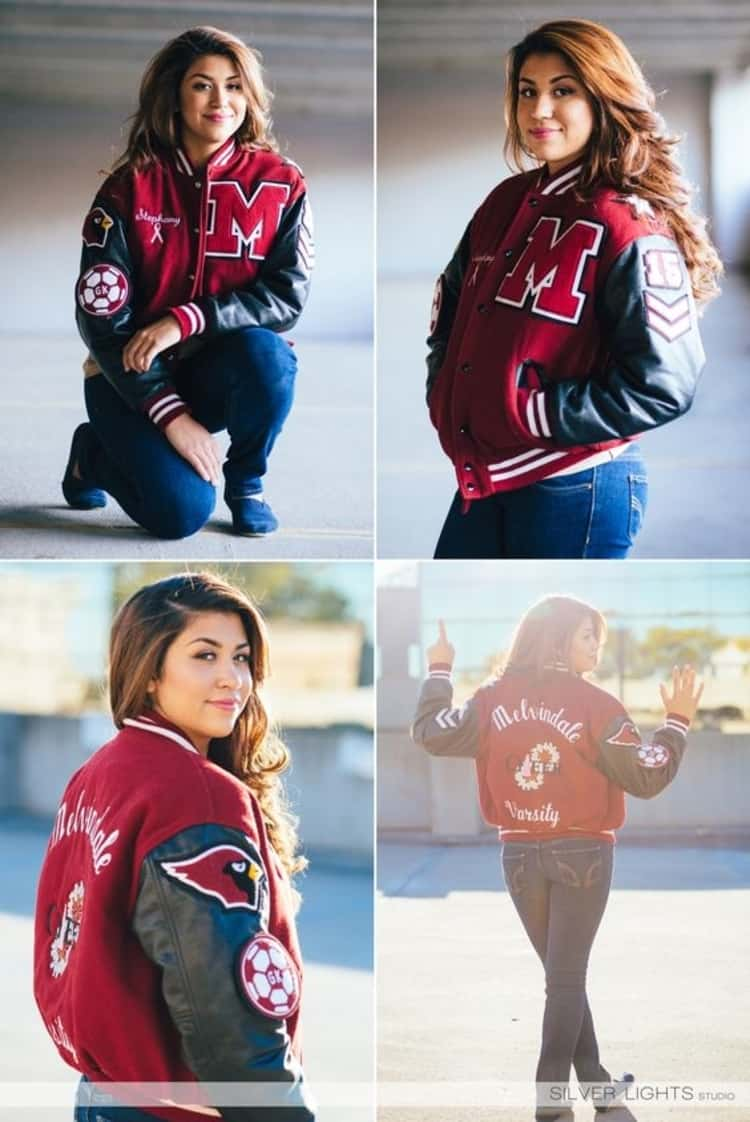 Senior picture ideas for girls - girl in letterman jacket in 4 different oses