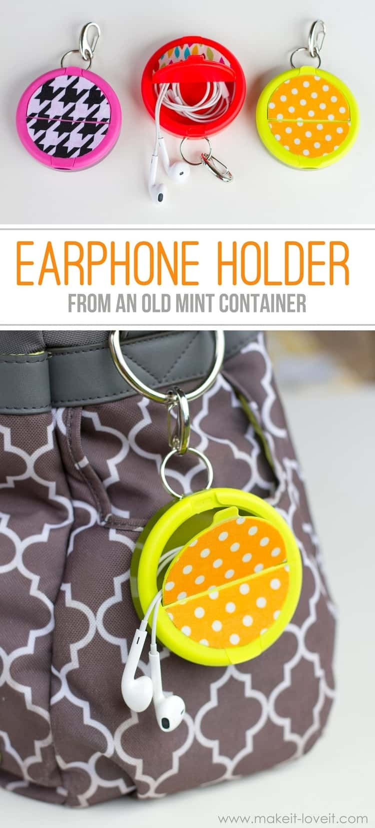 2-photo collage - 3 earphone holders from old mint containers in pink, orange, and yellow; EARPHONE HOLDER FROM AN OLD MINT CONTAINER; and other old yellow mint container earphone holder hanging from a bag ring.