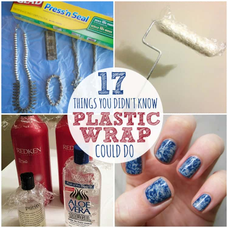 A collage of plastic wrap uses- use plastic wrap to minimize the space used by jewelry when traveling, plastic wrap used to prevent a paintbrush from drying, toiletries secured with plastic wrap to keep from spilling and cling film used to create a marbled effect on nails