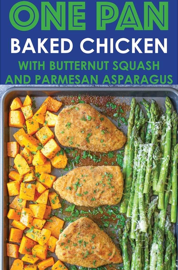 Sheet pan dinner Pn: Baked chicken, butternut squash, parmesan, asparagus