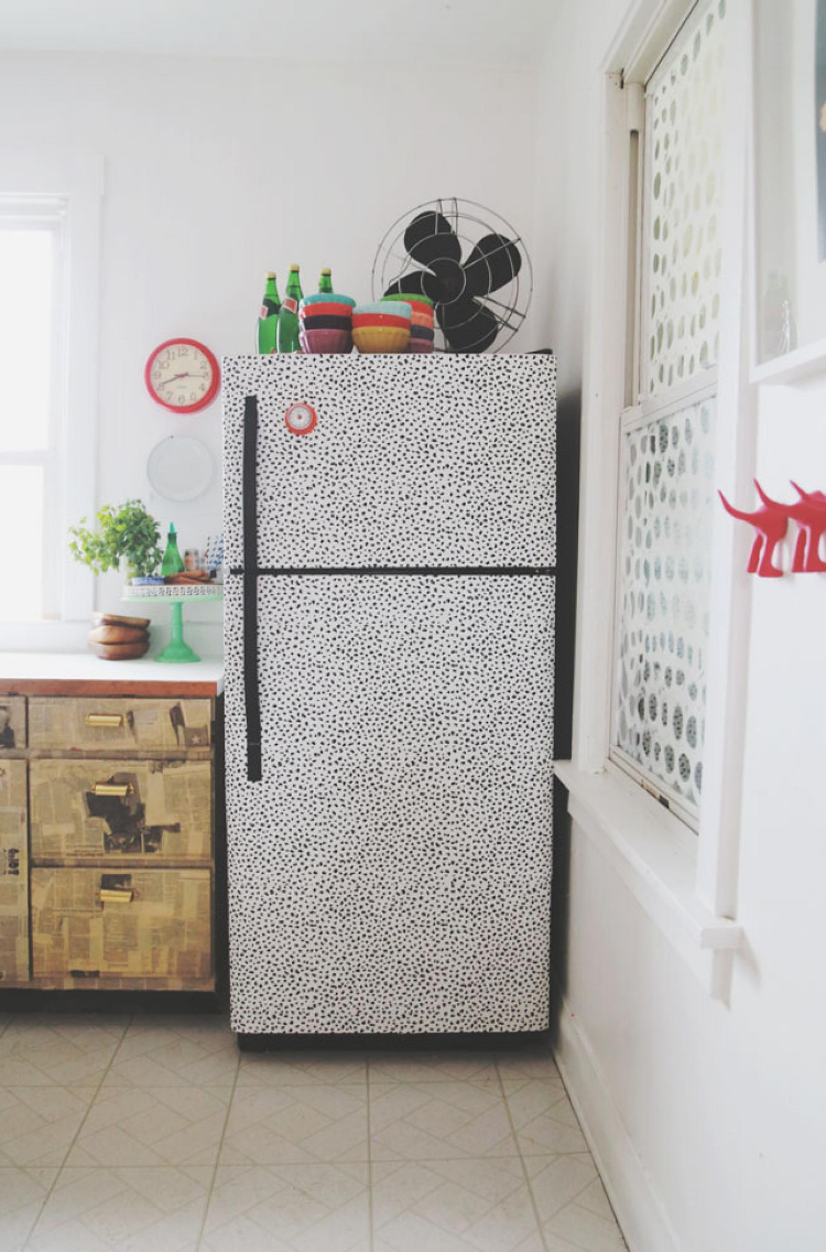decorative wallpapered fridge for an apartment