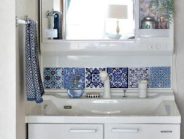 apartment decorating with adhesive tiles used in bathroom