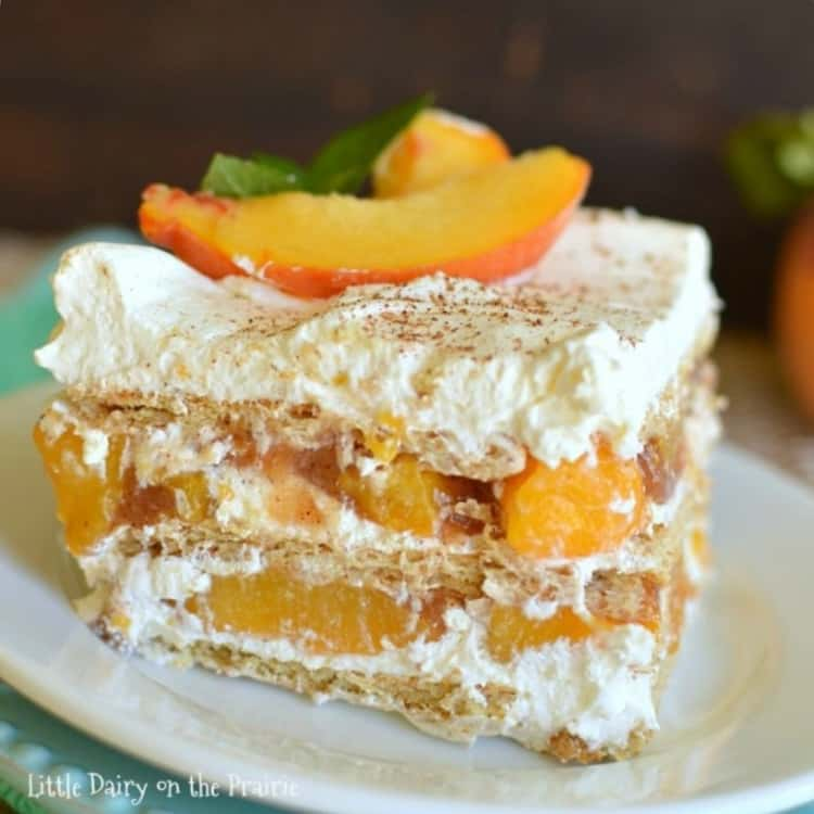 Peach Icebox Cake with peach slices on top