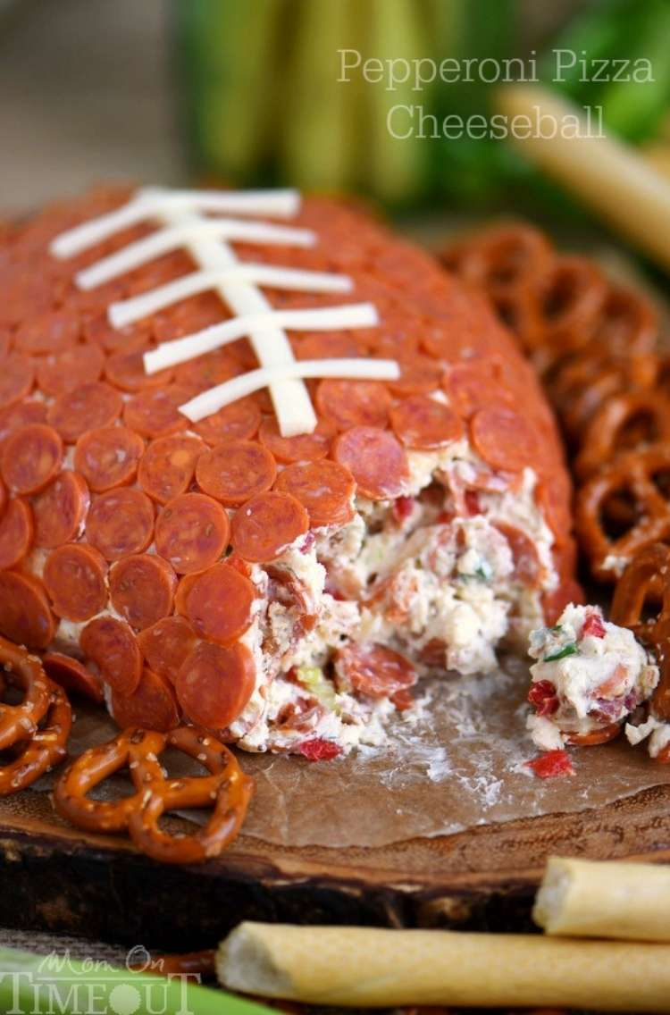 Football shaped, pepperoni pizza, cheeseball with pretzels