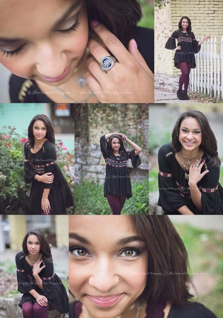 senior picture ideas for girls - 7-photo collage of girl in different poses showing off class ring