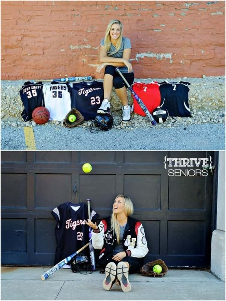 senior picture ideas for girls - 2-photo collage of girl seated down with an assortment of sports jerseys
