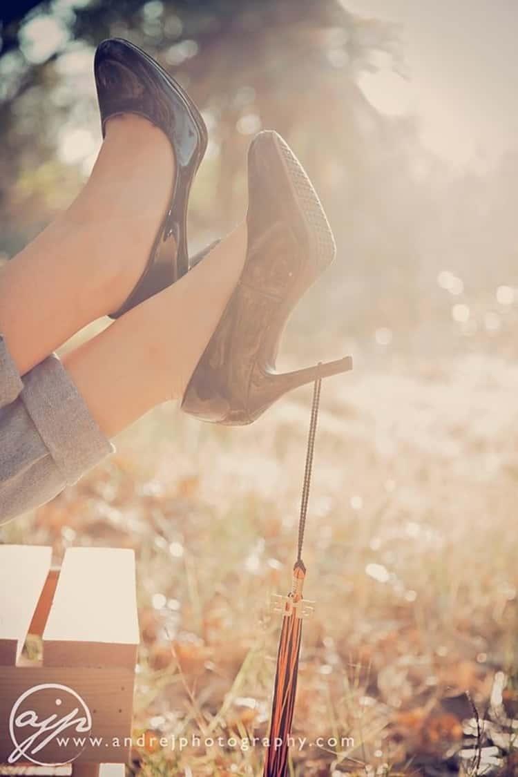 tassel on heel on girl's foot