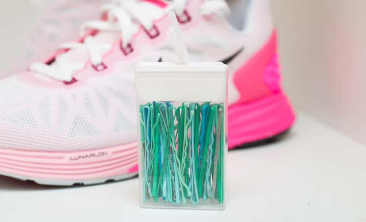 Travel tip store bobby pins in an empty tic tack container