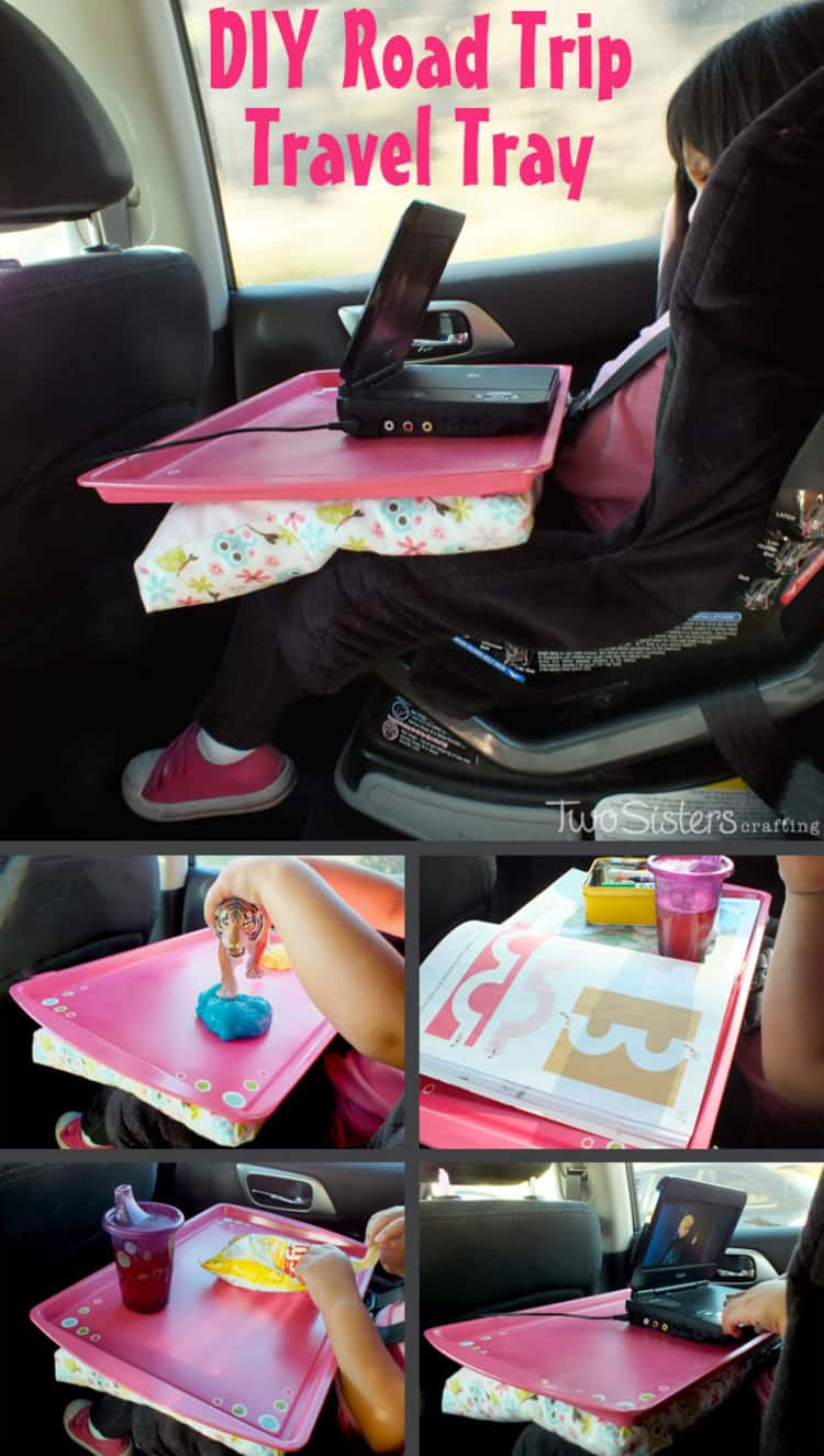 Old cookie sheet becomes travel tray for kids, photo collage, different items on travel tray