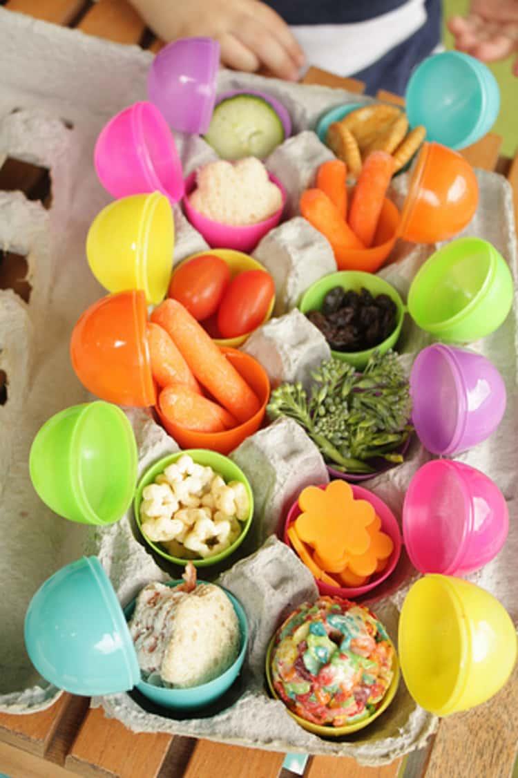 Travel tips, plastic Easter eggs make great holders for snacks and finger foods
