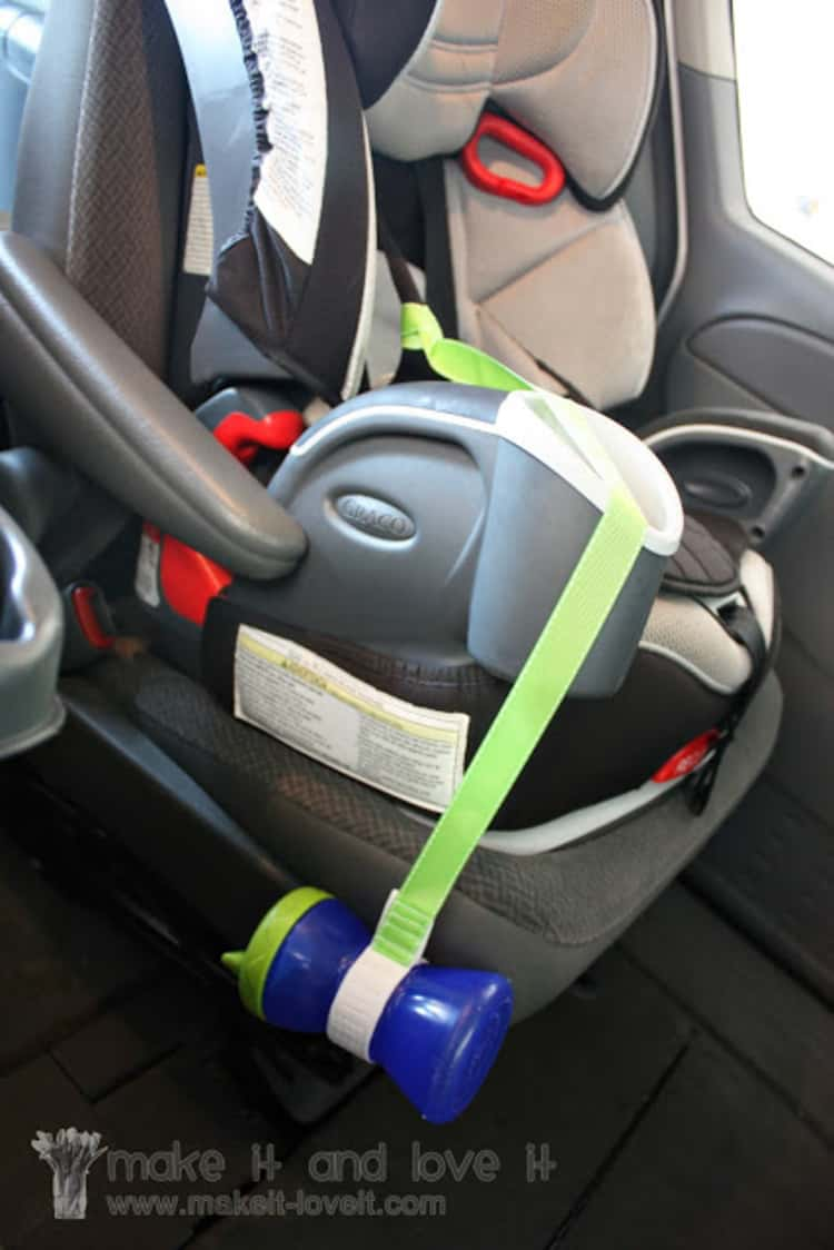 Sippy cup on a leash, attached to side of car seat