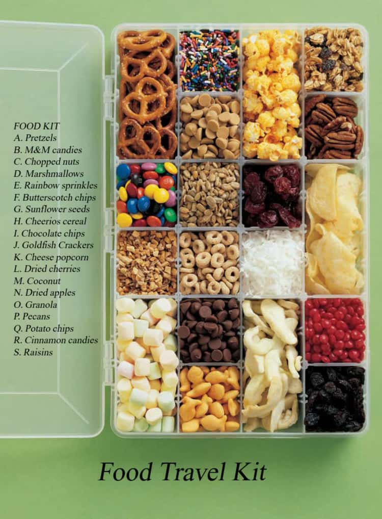 Travel tips, small tackle box with compartments for snack organizer, pretzels, chopped nuts, etc.