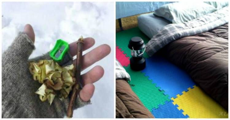 cold-weather-camping-tips image of a gloved hand holding kindling shavings created from using a pencil sharpener on a stick with the background of snow; adjacent image of a sleeping back in a tent next to a lantern with foam tiles lining the tent floor