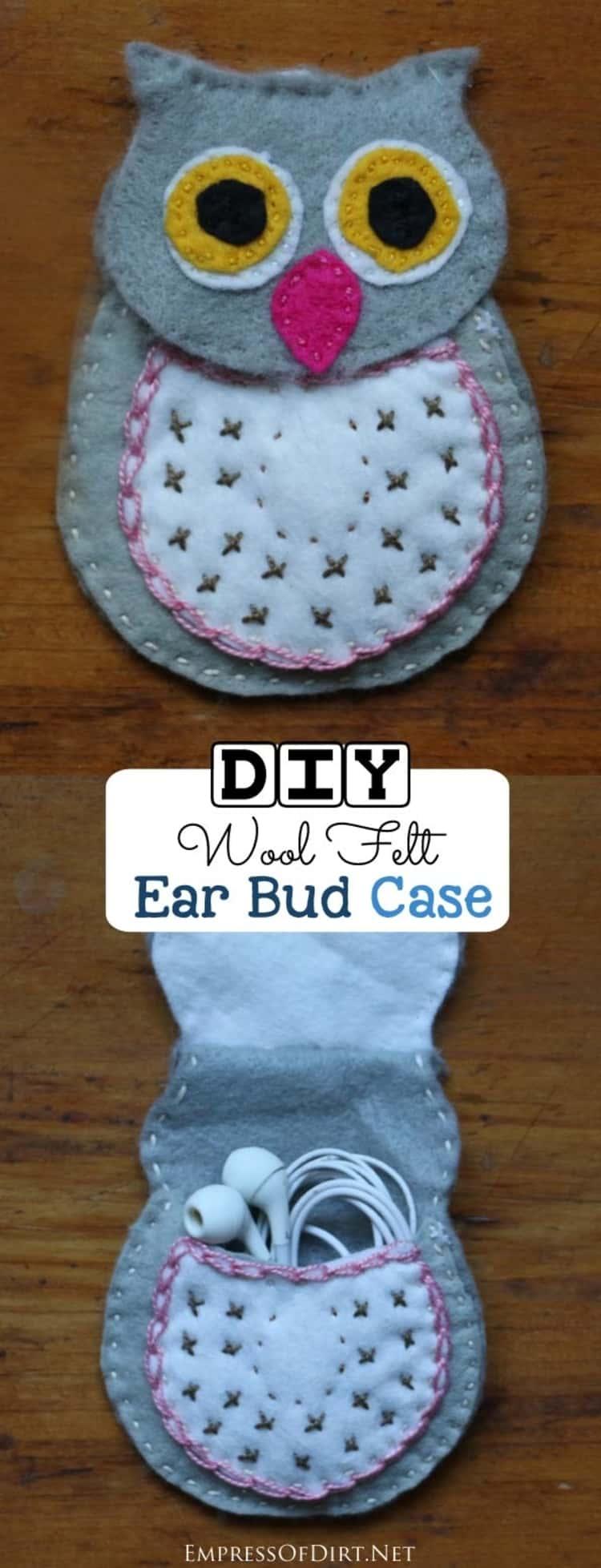 DIY wool felt earbud case in the shape of an owl