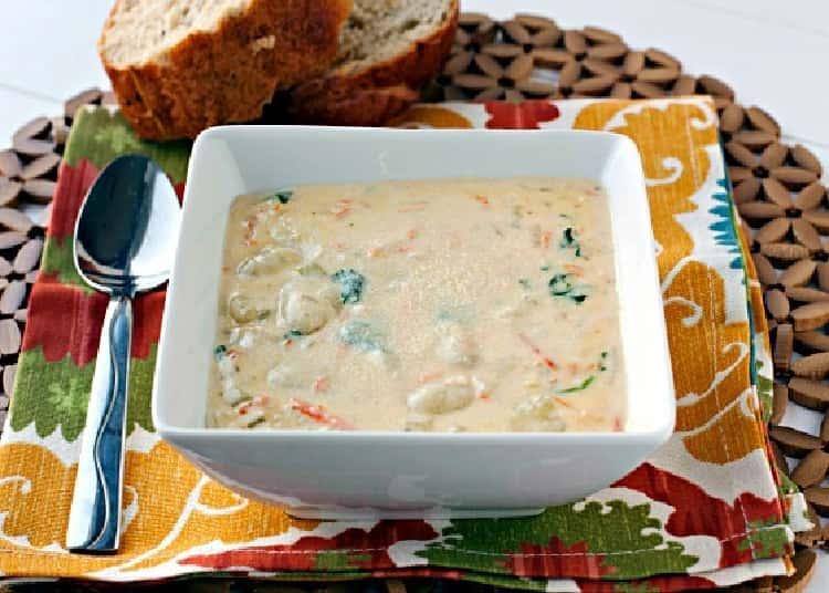 Chicken & Gnocchi Soup in a square bowl