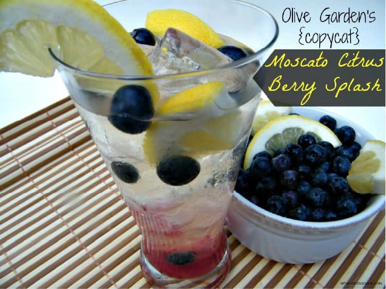 Moscato Citrus Berry Splash in a cup with flowing bluberries and lemon