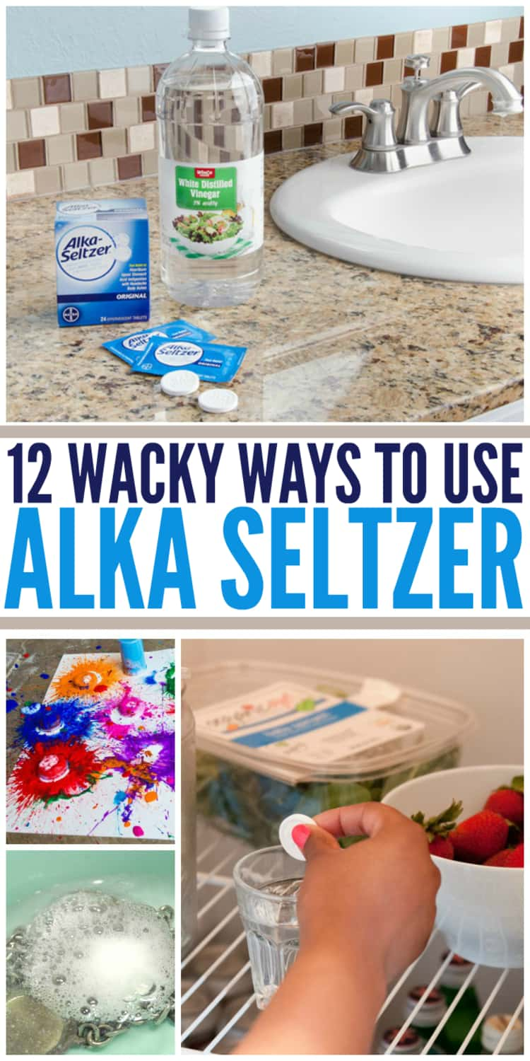 12 Wacky Ways to Use Alka-Seltzer: A collage of Alka-Seltzer tablets used to unclog a sink, to make explosive paint bombs, to deodorize a fridge and to remove tarnish from metal jewelry