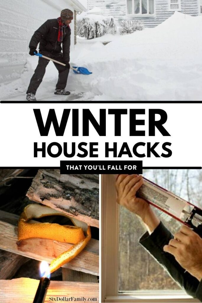 Winter House Hacks that You will fall for - shoveling snow orange peels and winterizing