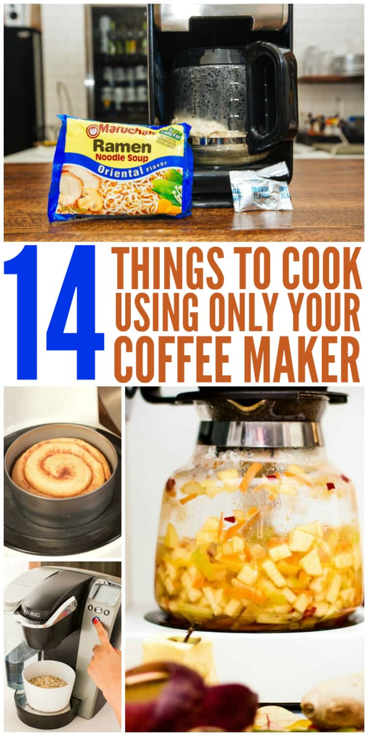 14 Things To Cook Using Only Your Coffee Maker; Collage of ramen, cinnamon roll, chutney, oatmeal