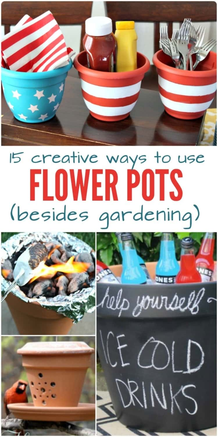 15 creative ways to use flower pots besides gardening: A collage of different ways to use flower pots, from using them as a condiment and utensil station, a s'mores roasting station, a refrigerator to making a terra-cotta bird feeder, I wonder what you can't do with flower pots!